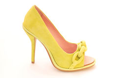 Green chamois female shoe Royalty Free Stock Photo