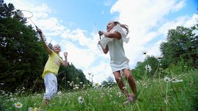 On the green, chamomile lawn, girls, children, playing badminton,. They run, jump, fool around. They have fun. Summer. Outdoors in the forest Vacation with stock video footage