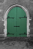 Green Chapel Doors. Green Double doors leading to a Cemetery Chapel Stock Photography