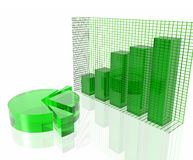 Green chart. Green pie chart and bar chart Stock Images