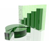 Green chart. Green pie chart and bar chart Royalty Free Stock Images