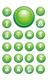 Green Chat Buttons, Contact, Email, Home, arrows. Green buttons for use in web pages. Icons for customer service, contact and more Royalty Free Illustration