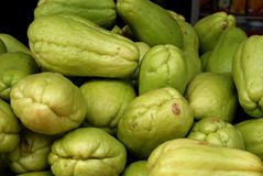 Green chayote. In the markets Royalty Free Stock Photos