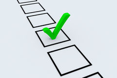 Green check mark. Representing success, choice and decision making Stock Photography