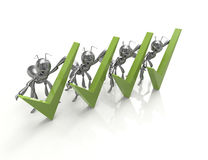 Green Check Mark with ants Royalty Free Stock Photo