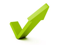 Green check mark arrow on white background Stock Images