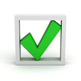 Green check mark in box. 3d green check mark in box on white background Royalty Free Stock Images