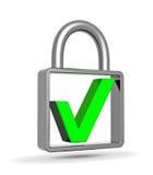 Green check mark into a closed padlock. Security concept Stock Photo