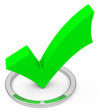 The green check mark. 3d generated picture of a green check mark Royalty Free Stock Photos