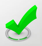 The green check mark. 3d generated picture of a green check mark Royalty Free Stock Photo