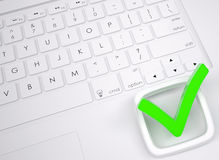 Green check mark on the keyboard Royalty Free Stock Images