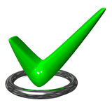 Green check mark in the metal ring Stock Photo