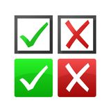 Check and cross marks. Green check mark and red cross icon isolated on white background Royalty Free Stock Image