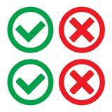 Green Check Mark and Red Cross in two variants square and rounded corners - Isolated Vector Illustration