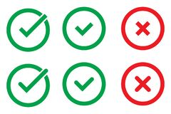 Green Check Mark and Red Cross in two variants square and rounded corners, isolated vector illustration