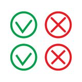 Green Check Mark and Red Cross in two variants square and rounded corners - thin line isolated vector il