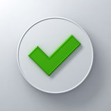 Green check mark or tick abstract on round signboard Royalty Free Stock Photography