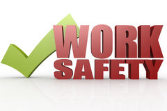Green check mark with work safety word Stock Image