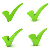 Green check marks isolated over white Stock Photos