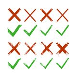 Green check, tick and red cross signs isolated on white background. Green checkmark OK and red X icons. Symbols YES and NO. Vector. Illustration Stock Images