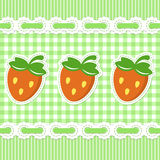 Green checked pattern with strawberry Stock Photo