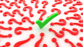Green checker red question marks Stock Photography