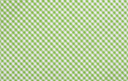 Green checkered fabric. Closeup , tablecloth texture Stock Image