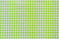 Green checkered fabric tablecloth Royalty Free Stock Photography