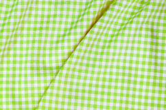 Green checkered fabric tablecloth Stock Photography