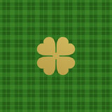 Green checkered pattern with clover leaf. Vector illustration Royalty Free Stock Images