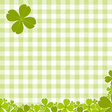 Green checkered pattern with clover Royalty Free Stock Image