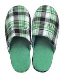 Green checkered slippers isolated on white background. Close up, high resolution Royalty Free Stock Photos