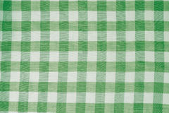 Green checkered tablecloth background Stock Photo