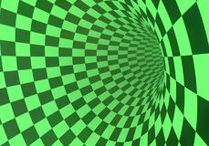 Green checkered tunnel. Abstract green checkered tunnel in a light fog. 3D rendering Stock Photo