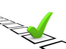 Green checkmark in checklist Stock Images