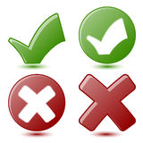 Green Checkmark and Red Cross Symbols Stock Photos
