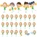 Green Cheerleader. Set of various poses of green Cheerleader team Royalty Free Stock Photography