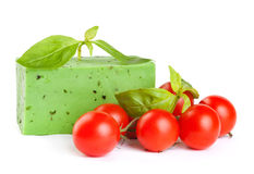 Green cheese with a basil and tomatoes Stock Images