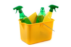 Green and chemical cleaning products Stock Photo