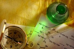 Green chemistry and compass Royalty Free Stock Photography
