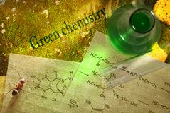 Green chemistry with reaction formula Royalty Free Stock Photos