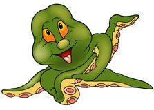 Green Cherful Octopus. Colored cartoon illustration Royalty Free Stock Photography