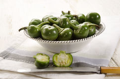 Green cherry peppers in a bowl Royalty Free Stock Image
