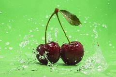 Green Cherry Splash Royalty Free Stock Photo