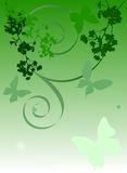 Green cherry tree flowers and butterflies Royalty Free Stock Photos