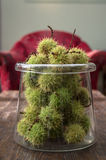 Green Chestnuts in a Glass Jar Stock Photos