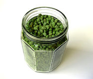 Green Chick Peas in Big Bottle Royalty Free Stock Images