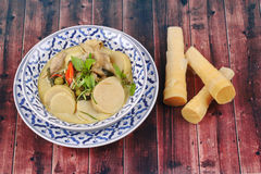 Green chicken curry in coconut milk with soft bamboo pole shoots Royalty Free Stock Photos