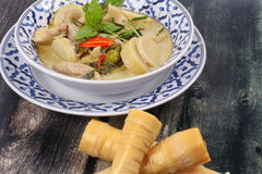Green chicken curry in coconut milk with soft bamboo pole shoots Stock Images