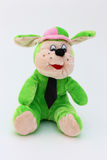 Green child toy dog of plush Stock Images